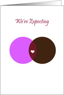 Pregnancy Expecting Announcement Interracial Couple card