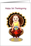 happy 1st thanksgiving, baby riding on turkey card