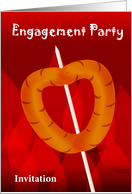 engagement party invitaion, hot dog stick as love shape card