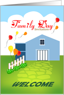 Family Day Invitation, House With Balloons And Picket Fence card