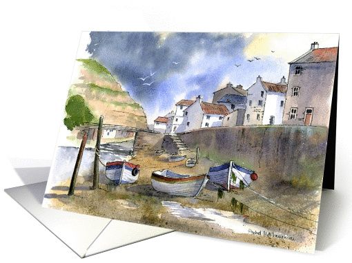 Boats at Staithes card (242482)