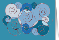 Blank card, any occasion, swirls in Blue card