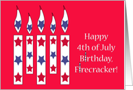 Fourth of July Birthday, candles with red & blue stars card