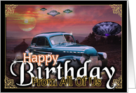 Happy birthday from classic cars to machines to stars from all of us card