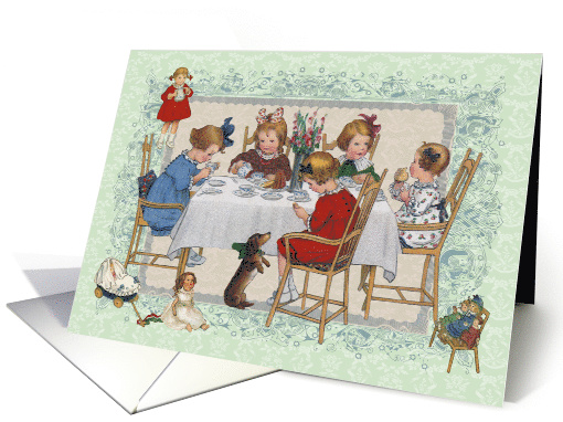 Little Girls sharing a Tea Party with her Best Friends Blank Note card
