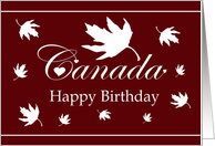 Happy Birthday Canada Day / White Maple Leaves and White Font on Red card