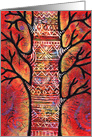 Red Spirit Tree with Patterned Tattoos card