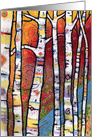 Colorful enchanted forest with aspen trees card