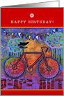 Happy Birthday with Bicycle and Raven Friend card