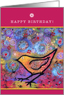 Happy Birthday, Magical, Yellow Bird card