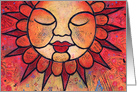 Colorful, peaceful celestial sun celebrates summer solstice card