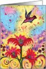 Whimsical Hummingbird in Garden Card