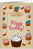 Happy Birthday Cupcakes - for Police Officer card