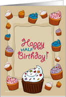 Half birthday cards from greeting card universe happy half birthday cupcakes card bookmarktalkfo Image collections