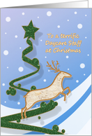 Daycare Staff - Reindeer + Holiday Tree card