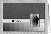 Best Man Request Brother Tuxedo Black Grey White card