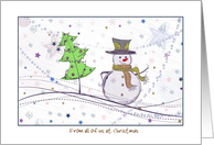 Christmas to our Boss from all of us - Snowman and Dove card