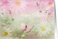 Birthday - Feminine Daises + Butterfly card