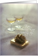 Wedding Day - To my Husband - Romantic Gift & Champagne Glasses card