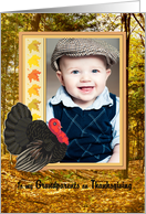 Grandparents -Thanksgiving Turkey in the woods and foliage Photo Card