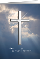 Thank you Pastor - Eulogy - Silver Cross in the Sky with Light Rays card