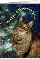 Cat Galaxy Stars Birthday card