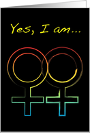 yes i am a lesbian : coming out invitations card