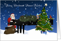 Piano Teacher Card With Santa Playing Piano card
