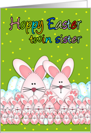 Twin Sister Easter Card With Easter Bunnies And Eggs, Hoppy Easter card