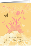 Tulip Floral And Butterfly Birthday Card In Pinks And Yellow card