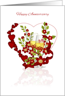 Red Wedding Anniversary With Champagne And Flowers card