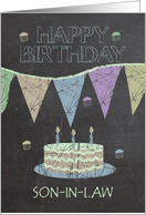 Son-in-Law Trendy Chalk Board Effect, With Birthday Cake card