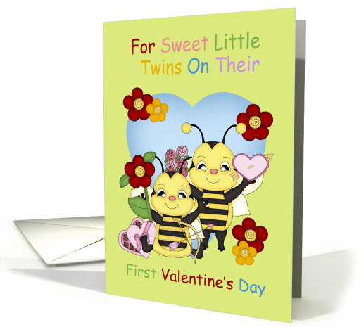 Twins First Valentine's Day With Little Bees card (1216480)