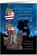 Grandson Military Christmas Greeting Card With Pride And Respect card