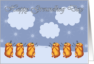 Happy Groundhog Day whistling Groundhogs card