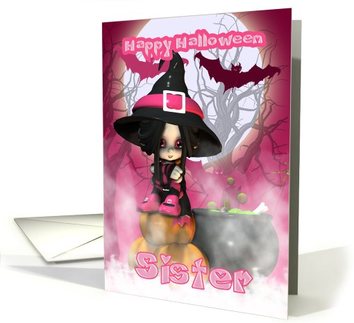 Sister Halloween with Girlie Witch in pinks card (506031)