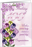 100th Birthday Card For A Special Lady card