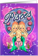 Pisces Zodiac Cute Card With Two Mermaids card