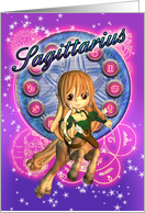 Sagittarius Zodiac Card With Cute Female Centaur card