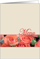 Wedding Menu Card Peach Roses Cream card