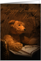 Uncle Birthday Card With Teddy Bear Reading A Book card