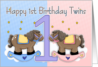 Twins First Birthday Card - Two Little Ponies card