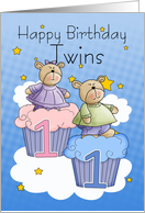 Twins First Birthday Card - Two Little Bears card