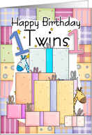 Twins First Birthday Card - Gifts card