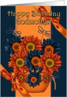 Godmother Birthday Card - Sunflower And Dragonfly card