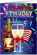 4th July Birthday - Birthday On The Fourth Of July - Colourful card