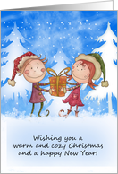 Cute Christmas Card - Cute Children - Warm And Cozy Christmas card