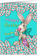 Twin Sister Easter Card With Easter Bunny And Eggs card
