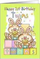 Twins First Birthday Card - Two Little Rabbits card