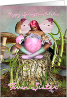 Twin Sister - Springtime Fairy Easter Card - Fairy With Easter Surprise card